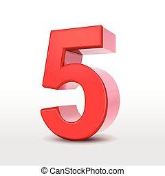 数, 赤, 3d, 5