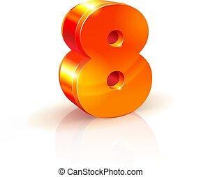 数, 隔離された, バックグラウンド。, オレンジ, 8, 白, 光沢がある, 赤, 3d