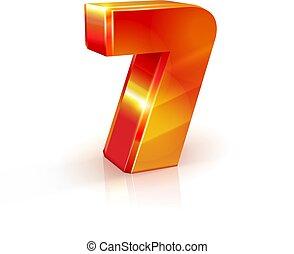 数, 隔離された, バックグラウンド。, 7, オレンジ, 白, 光沢がある, 赤, 3d