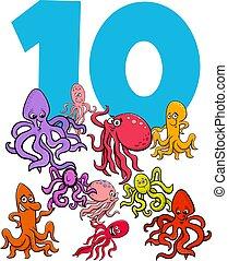 数, 10, タコ, 動物, 漫画, グループ