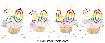 数, birthday, 旗, cupcakes