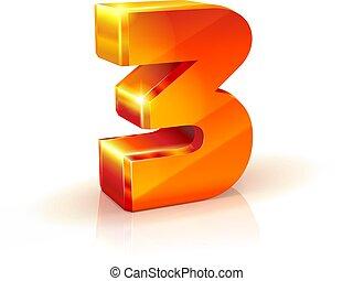 数3, 背景, オレンジ, 白, 光沢がある, 赤, 3d