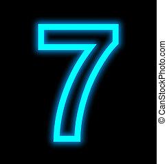 数7, ネオンライト, 概説された, 隔離された, 上に, 黒