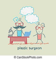 整形外科醫生, t, 工作, 的談話, a, 病人