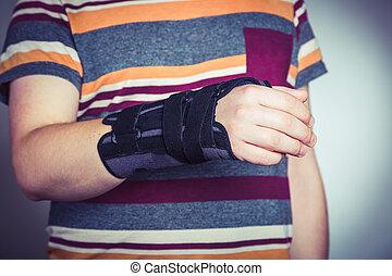 整形外科, 黒, orthosis, 人, 手
