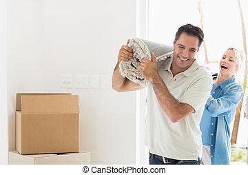 敷物, 恋人, 家, 届く, 回転した, 引っ越し, 後で