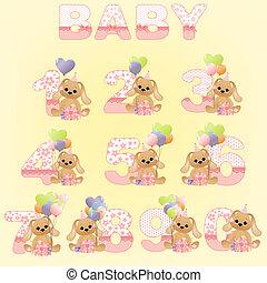 數字, 漂亮, 生日, 彙整, 嬰孩