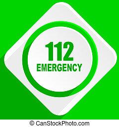 數字, 緊急事件, 112, 綠色, 套間, 圖象