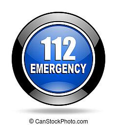 數字, 緊急事件, 112, 藍色, 有光澤, 圖象
