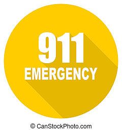 數字, 緊急事件, 911, 套間, 設計, 黃色, 网, 圖象