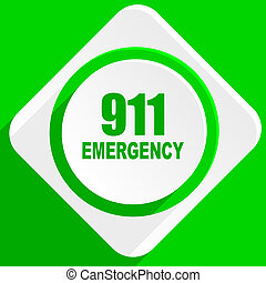 數字, 緊急事件, 911, 綠色, 套間, 圖象