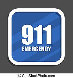 數字, 緊急事件, 911, 藍色, 套間, 設計, 廣場, 网, 圖象