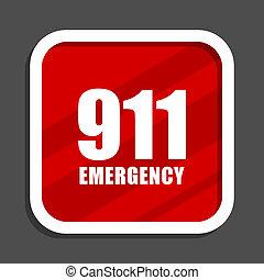 數字, 緊急事件, 911, icon., 套間, 設計, 廣場, 網際網路, banner.