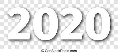 數字, 被隔离, 2020, 年, 白色, 陰影