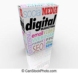 數字, 銷售, 產品, 箱子, 做廣告, 促進, 3d, 插圖