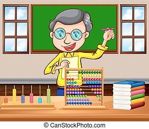 數學, 老師, 在, the, 教室