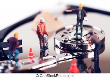 數据, 恢復, concept., 建設工人, 小雕像, 上, 硬盤驅動器