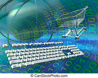 數据, 服務器, 因特網購物
