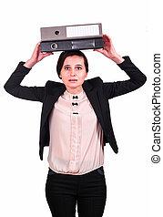 文件夹, 头, 妇女商业