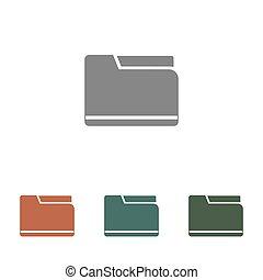 文件夹, 白色, 图标, 隔离, 背景
