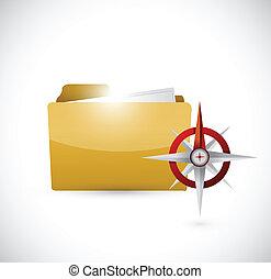 文件夾, 以及, 指南針, 插圖, 設計