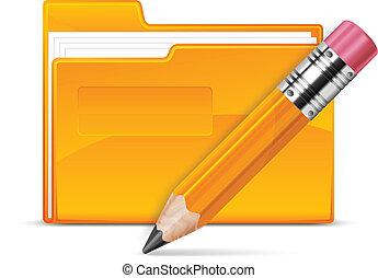 文件夾, 以及, 鉛筆