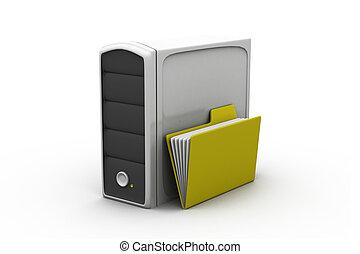 文件夾, 由于, 服務器