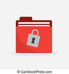 文件夾, 紅色, 鎖, 圖象