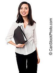 文件, 公司, 女士, 握住, 商业