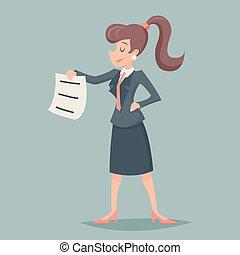 文件, 提供, 葡萄收获期, 性格, 描述, 签署, 矢量, 设计, retro, 背景, businesswoman, 时尚, 通过, 花费, 卡通漫画, 图标