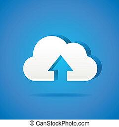文件, app, -, upload, 云, 图标