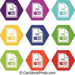 文件, ppt, 圖象, 集合, 顏色, hexahedron