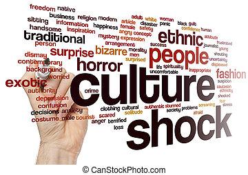 文化, ショック, 単語, 雲