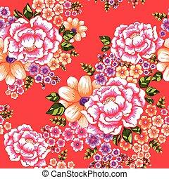 文化, パターン, seamless, 花, 客家, 台湾