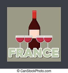 文化, ワイン, カード, びん, フランス