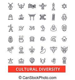 文化, 差异, 国际, enthnic, multicultural, 容忍, 和平, 线, icons., editable, strokes., 套间, 设计, 矢量, 描述, 符号, concept., 线性, 签署, 隔离, 在怀特上, 背景