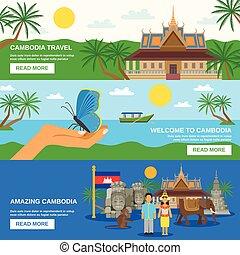 文化, 水平なバナー, 3, セット, カンボジア人