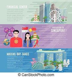 文化, 水平なバナー, 3, セット, シンガポール