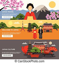 文化, 水平なバナー, 3, セット, 日本語