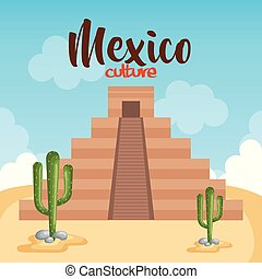文化, mayan, メキシコ人, ピラミッド