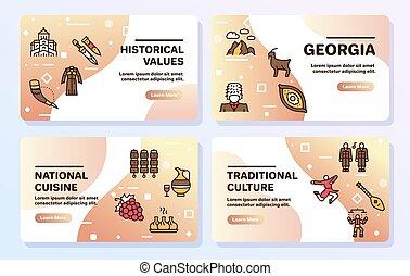 文化, set., ジョージア, 色, 線である, 食物, 伝統, georgian, アイコン