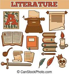 文学, 古い, アイコン, 型, 作家, ペン, ベクトル, 本, インク, 羽ペン, タイプライター