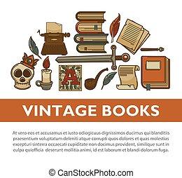 文学, 古い, アイコン, 型, 作家, ポスター, ペン, ベクトル, 本, インク, 羽ペン, タイプライター
