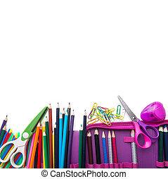 文房具, 学校, 積み重ね, フレーム, 底