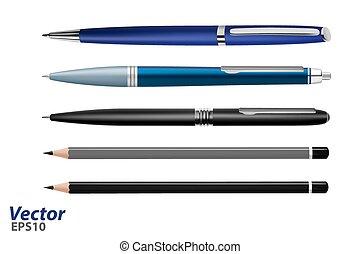 文房具, 鉛筆, ペン, vector., ベクトル, illustration.