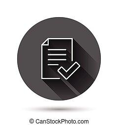 文書, イラスト, 公認, アイコン, 黒, 影, concept., 長い間, ビジネス, 印, 平ら, ベクトル, ...