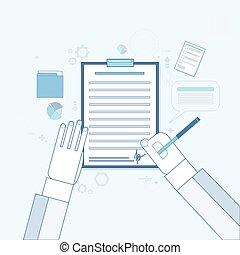 文書, オフィス, ビジネス, 署名, の上, 契約, 合意, ペン, ペーパー, 机, 印