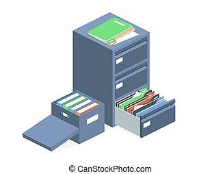 文書, キャビネット, ベクトル, ファイル, アーカイブ, 貯蔵, 箱