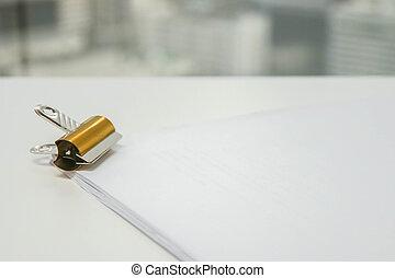 文書, シート, ビジネス, クリップ, 金属, の上, ペーパー, 終わり