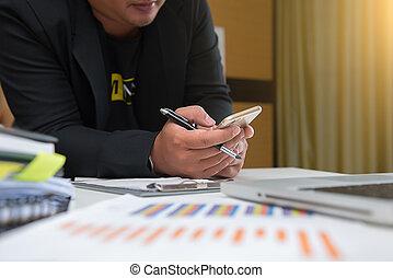 文書, ビジネスオフィス, ラップトップ, 電話, コンピュータ, テーブル, 痛みなさい